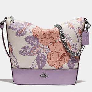 NEW COACH Floral Leather Chain Strap purple bag